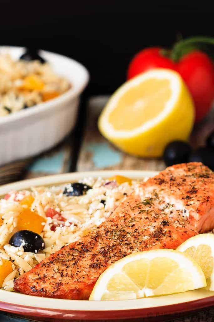 Crispy Salmon with Greek Orzo - Quick and easy Crispy Salmon with Greek Orzo for 30 Minute Thursday - this meal is on the table in 20 minutes and the whole family will love it!