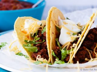 20 Minute Ground Beef Tacos - A quick and easy weeknight meal, only 20 minutes to have these fantastic ground beef tacos on the table! Plus, the prepared taco meat freezes beautifully! #30MinuteThursday