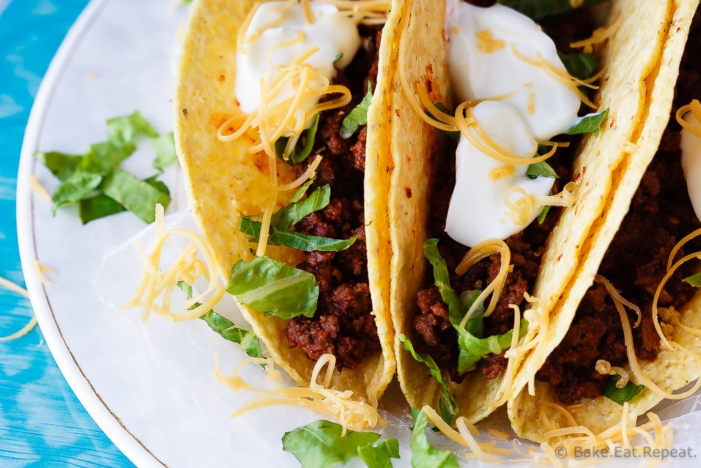 20 Minute Ground Beef Tacos - A quick and easy weeknight meal, only 20 minutes to have these fantastic ground beef tacos on the table! Plus, the prepared taco meat freezes beautifully!