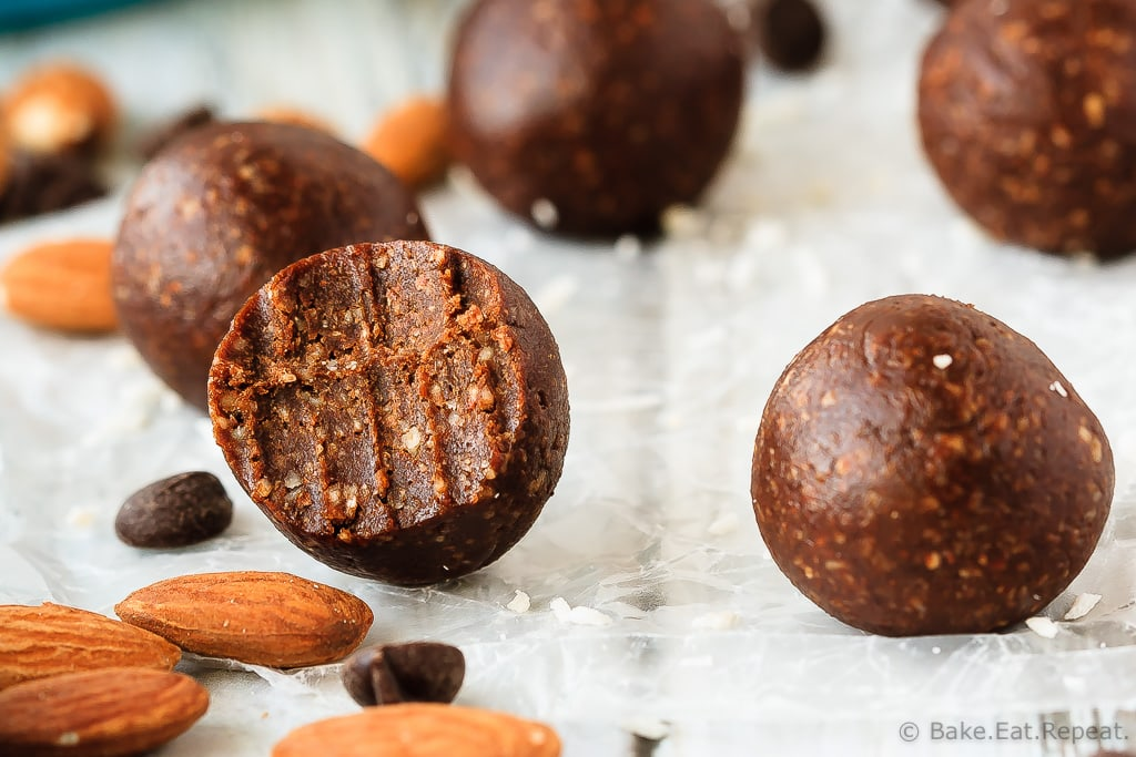 Almond Joy Energy Balls - Quick and easy almond joy energy balls that mix up in minutes and are a healthy, tasty snack full of coconut, almonds and chocolate!