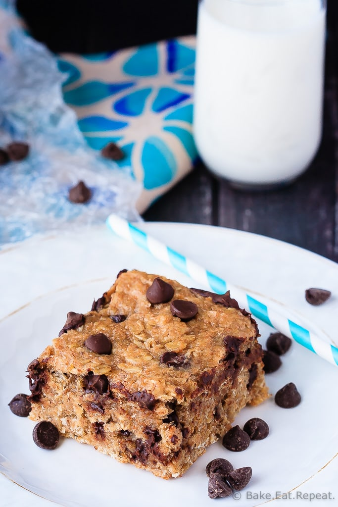 Peanut Butter Banana Oatmeal Bars - Quick and easy to make, these banana peanut butter oatmeal bars mix up in minutes and are healthy enough for an on-the-go breakfast or snack!