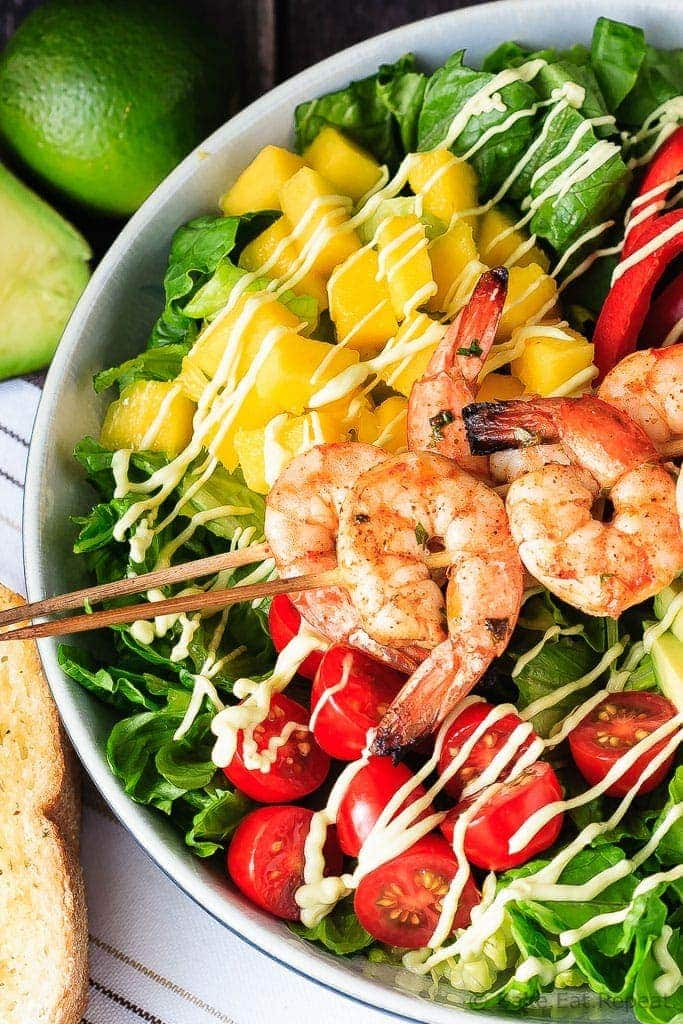 Cilantro Lime Grilled Shrimp Salad - A fantastic 30 minute meal for the summer - cilantro lime grilled shrimp salad with a creamy avocado dressing. Perfect for those summer nights.
