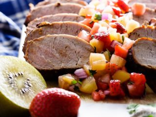 Grilled Pork Tenderloin with Strawberry Kiwi Salsa - Cinnamon chili grilled pork tenderloin with a strawberry kiwi salsa - fast and easy to make and absolutely perfect for your summer BBQ!