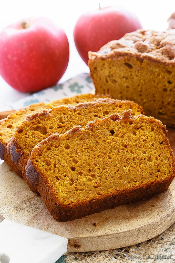 Apple Pumpkin Bread - The best pumpkin bread I've ever made, this apple pumpkin bread is super soft on the inside, has a crunchy cinnamon topping, and is full of pumpkin flavor.