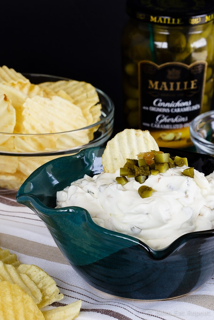 Gherkin and Caramelized Onion Dip - This gherkin and caramelized onion dip makes the perfect appetizer or snack - easy to make and so tasty, you'll never want to buy chip dip again!