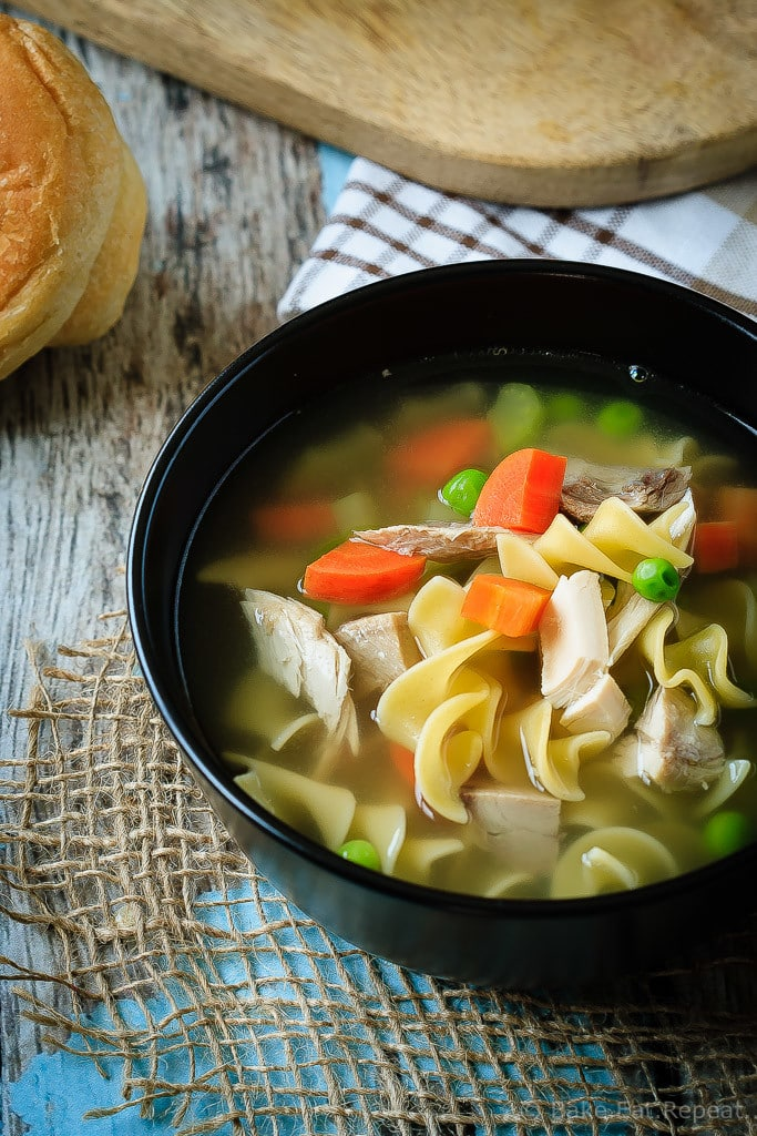 30 Minute Chicken Noodle Soup - This 30 minute chicken noodle soup is perfect with either chicken or turkey, is super fast and easy to make, and will be a family favourite for sure!