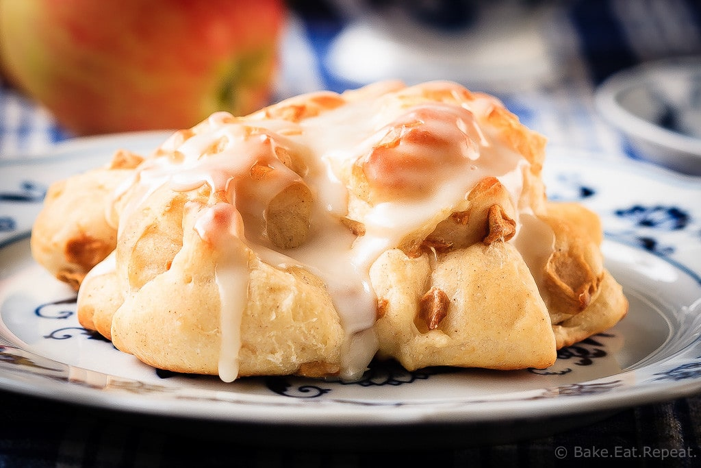 Baked Apple Fritters - These baked apple fritters are easy to make and taste amazing - soft, tender, cinnamon spiced dough studded with apples and drizzled with a vanilla glaze.