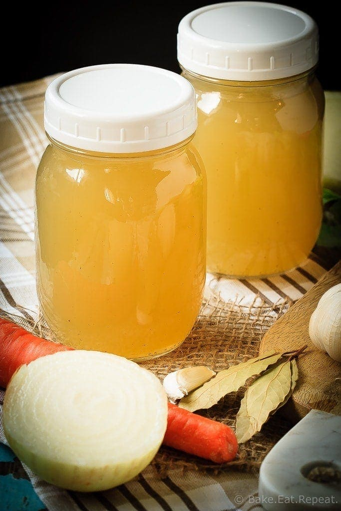 Homemade Chicken Stock - Homemade chicken stock is so easy to make, you'll wonder why you've ever bought it. Plus, it's so much tastier, and freezes well to always have on hand!