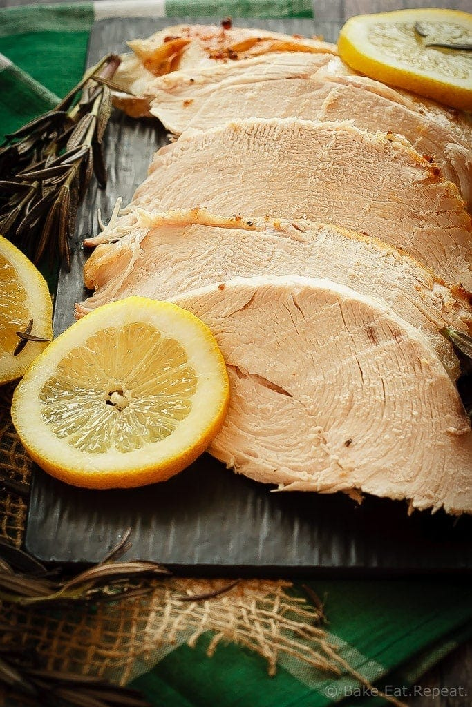 The easiest way to get perfect, juicy turkey every time!  This lemon rosemary brined turkey is an easy recipe that always turns out perfectly juicy turkey!