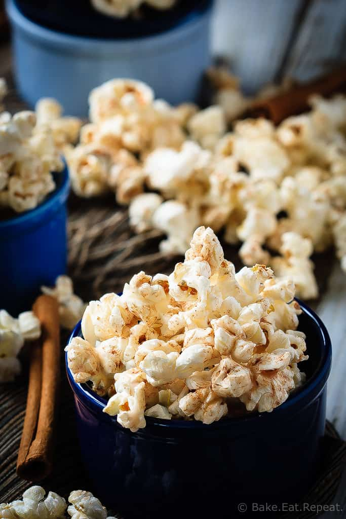 Cinnamon Roll Popcorn - A great way to change up the usual movie night snack, this cinnamon roll popcorn is a wonderful sweet and salty snack that everyone will love!
