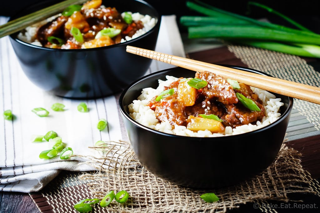 Spicy Mongolian Beef and Pineapple - Spicy Mongolian beef and pineapple made in the slow cooker - a super easy meal to make at home that is even better then takeout!