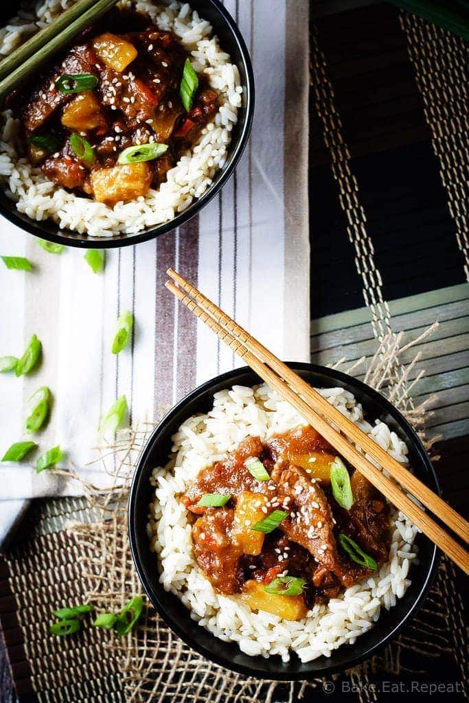 Spicy Mongolian beef and pineapple made in the slow cooker – a super easy meal to make at home that is even better then takeout!