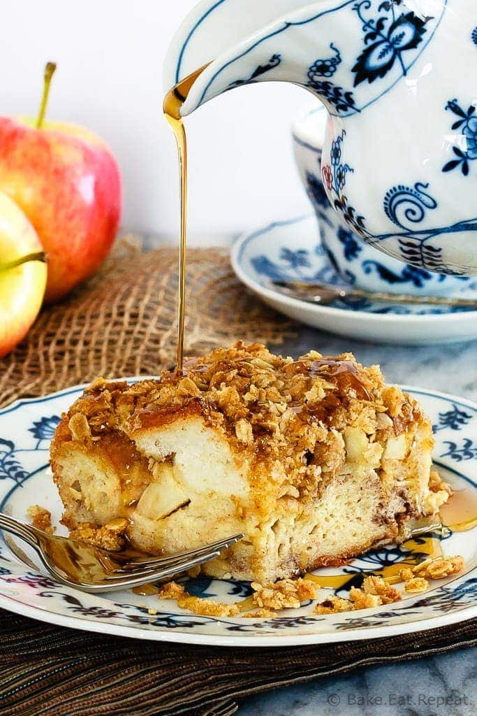 This apple crisp French toast casserole can be made ahead of time to make breakfast a super simple affair! Simplify your holidays with this tasty casserole!