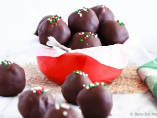 Peppermint Brownie Truffles - Rich, delicious, peppermint brownie truffles - a homemade peppermint patty filling surrounding by rich brownie crumbles and coated in chocolate!