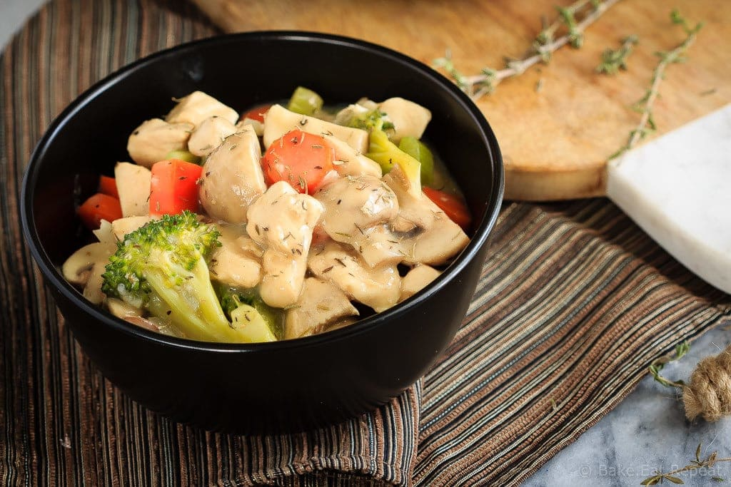 30 Minute Chicken Stew - This creamy chicken stew is filled with veggies and is simple to make. Easily on the table in 30 minutes, it's a healthy meal that is perfect for those cold nights!