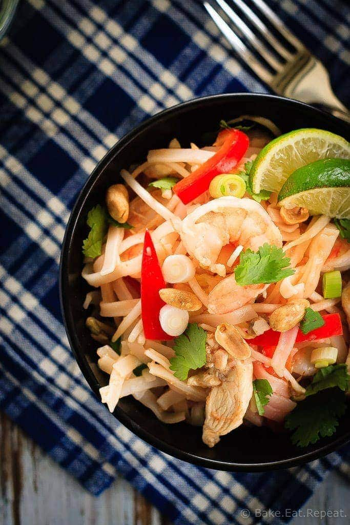 Skip the takeout and make your Pad Thai at home instead! This easy to make chicken and shrimp Pad Thai will be on the table in 30 minutes!