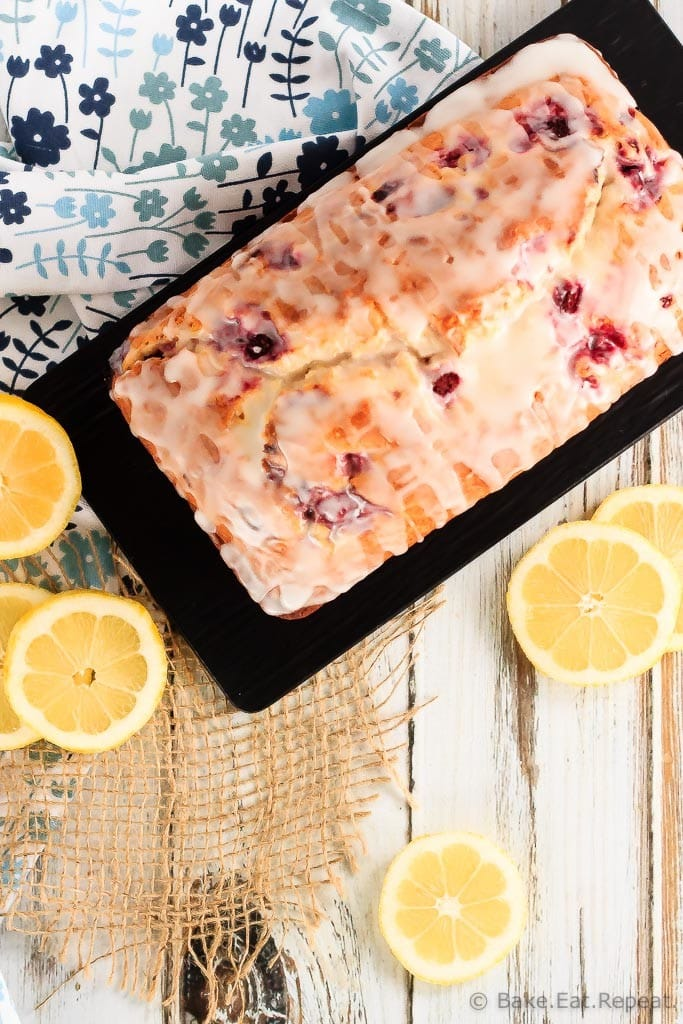 This glazed raspberry lemon bread is quick and easy to make and perfect to have with your morning coffee. The tangy lemon glaze just puts it over the top!