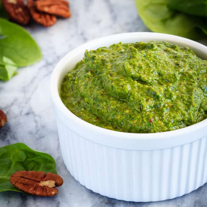This spinach pesto is so quick and easy to make, you'll wonder why you ever bought pesto! It's the perfect, flavourful addition in so many recipes!