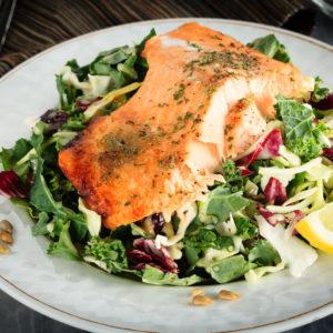Honey Lemon Baked Salmon with Sunflower Kale Salad