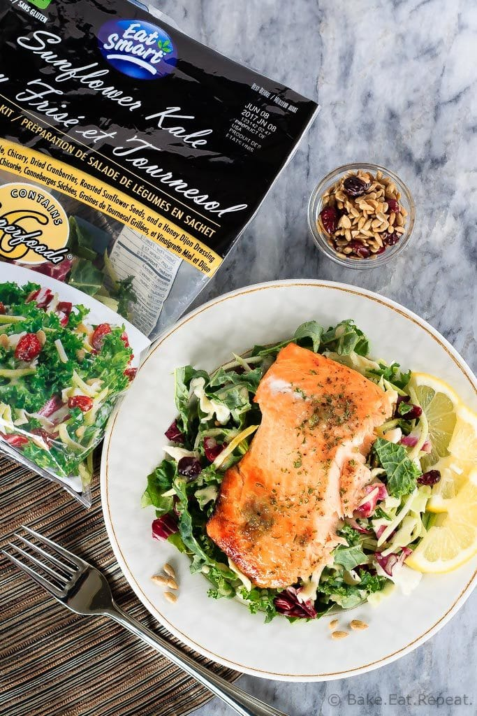 This honey lemon baked salmon with a sunflower kale salad is quick and easy to make and you will love it! A 30 minute meal you'll make again and again!