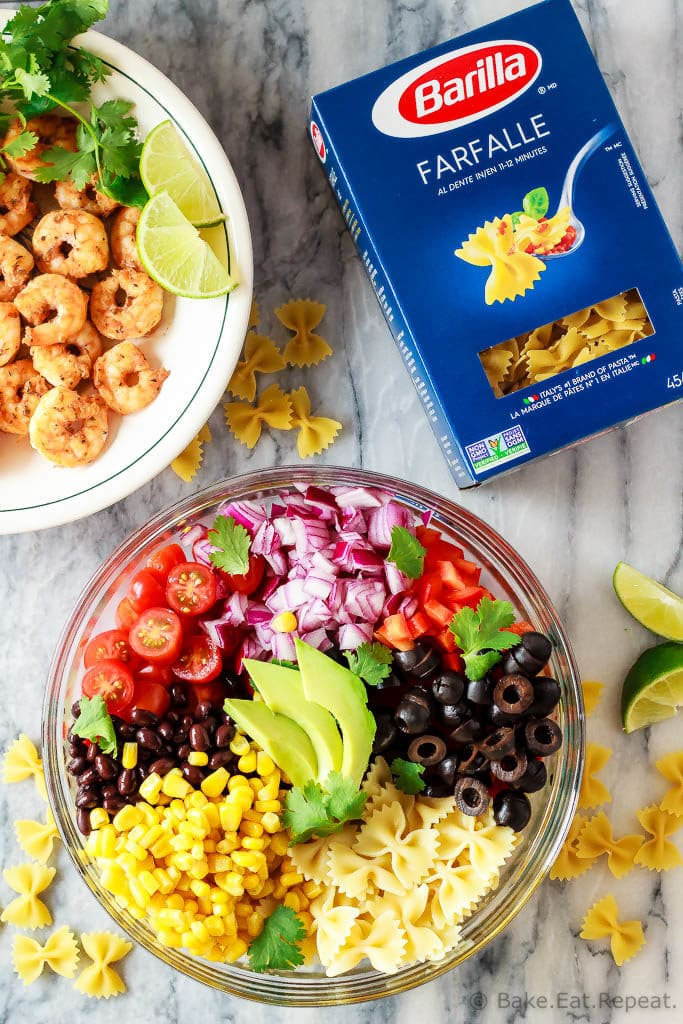 This Mexican pasta salad with cajun shrimp is perfect for summer - easy to make, the whole family will love it, and it can even be made ahead of time!