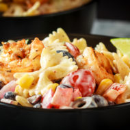 Mexican Pasta Salad with Cajun Shrimp