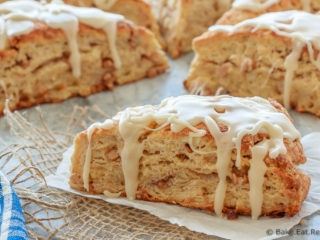 These fluffy apple cinnamon scones, filled with diced apple and mini cinnamon chips, are the perfect sweet treat for breakfast or a snack!