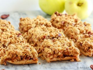 These easy to make apple pie bars have a shortbread crust, a cinnamon crumb topping and an amazing apple pie filling - the perfect fall dessert!