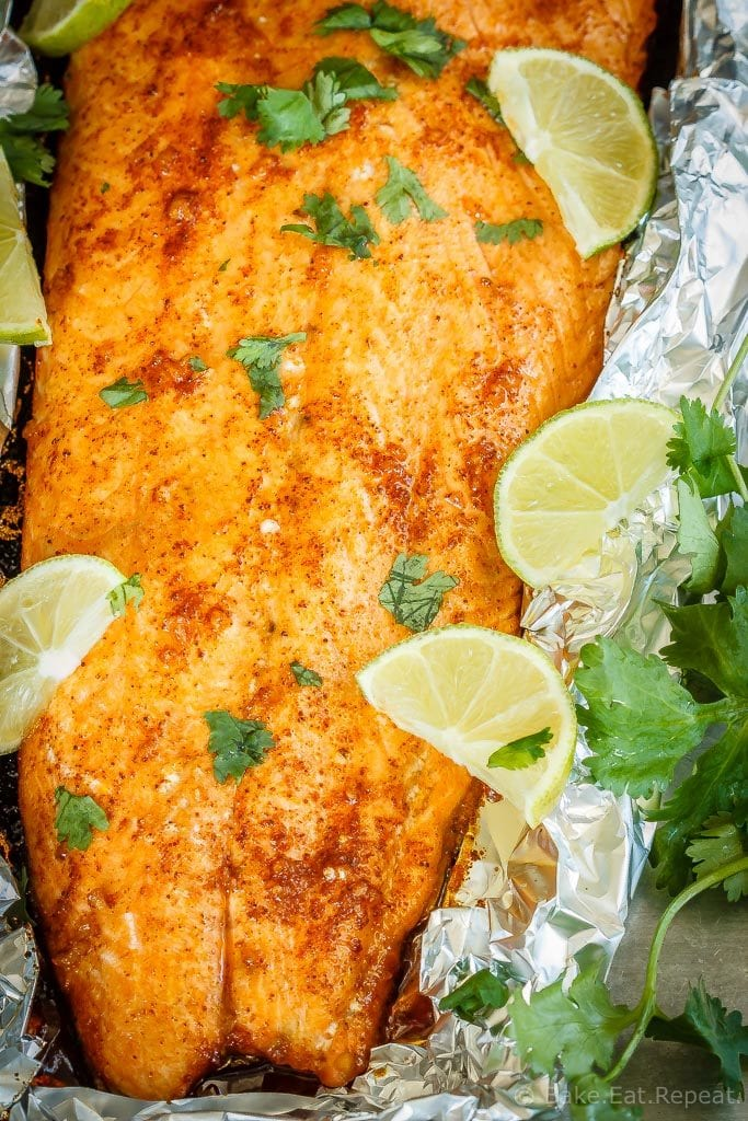 A tasty 30 minute meal that the whole family will love, this chili lime baked salmon comes together quickly and is absolutely delicious!