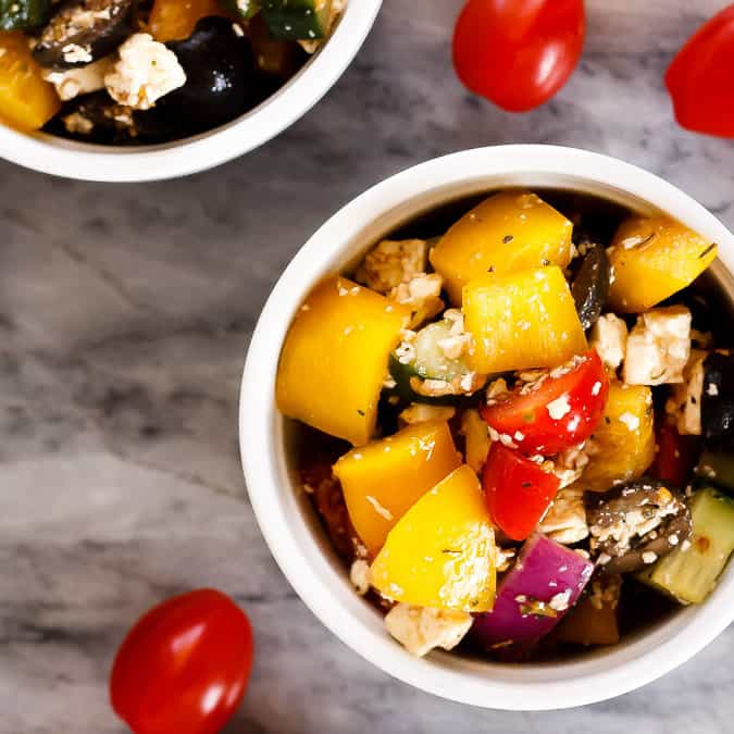 This simple Greek salad is the perfect side dish - the homemade dressing takes just minutes to make, and the salad can even be mixed up ahead of time!