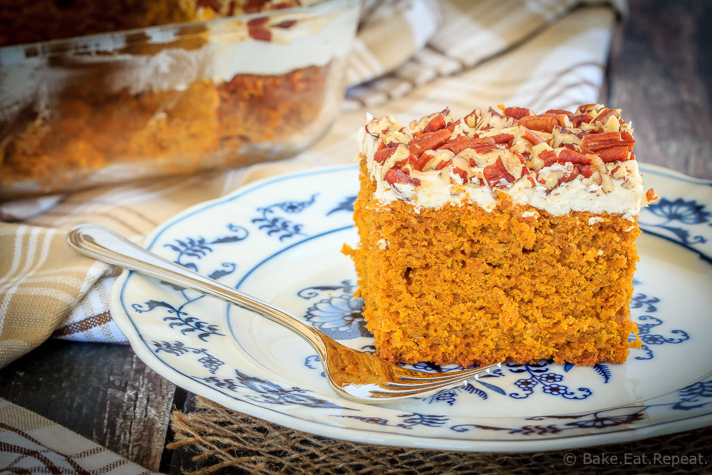 This pumpkin snack cake with cream cheese frosting is the perfect easy dessert or afternoon snack - an easy to make, sweet treat for the fall!