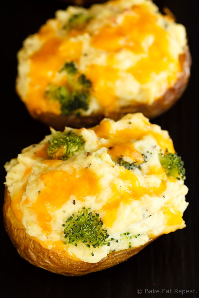 These twice baked potatoes filled with cheddar cheese and broccoli are the perfect side dish - they're easy to make and the whole family will love them!
