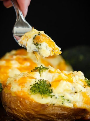 Twice Baked Potatoes with Cheddar and Broccoli