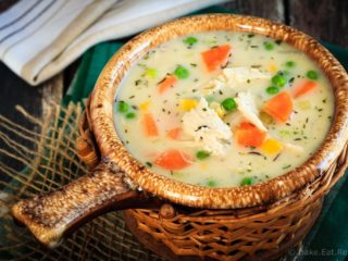 This chicken pot pie soup is thick and creamy (without any cream!) and ready to eat in 30 minutes - a great way to use up chicken (or turkey) leftovers!