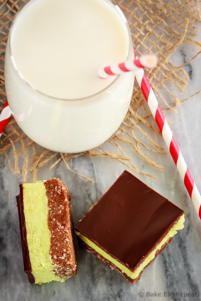 These mint Nanaimo bars are an easy to make, no bake treat that is perfect for your Christmas cookie tray. Perfect dessert with a big glass of milk!
