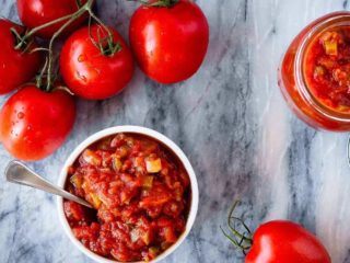 This homemade salsa is so much better then anything you can buy at the store, and is easy to make. You can even can it at home with a water bath canner so you can enjoy fresh tasting, homemade salsa all year long! (It also freezes well if canning isn't your thing!)