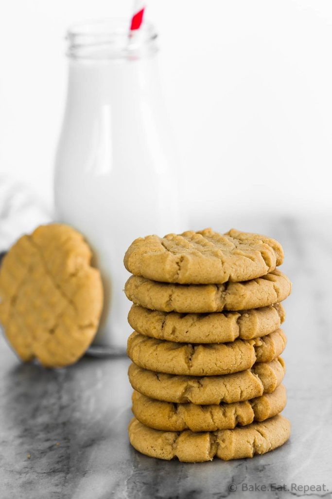 These classic peanut butter cookies are a bit crisp and crumbly, full of peanut butter flavour, and super easy to make. They have that classic cross hatch pattern on top, and are the perfect snack or dessert!