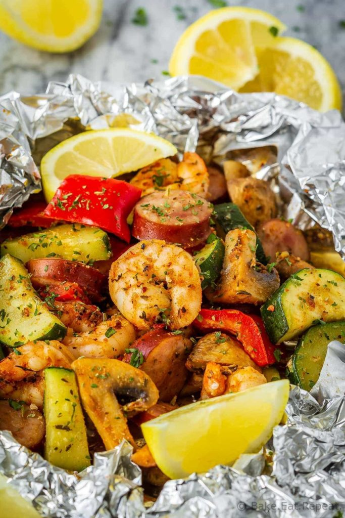 These Cajun shrimp and sausage foil packets are easy to make, have easy clean-up, and are perfect for a quick weeknight meal, or for a meal while camping.