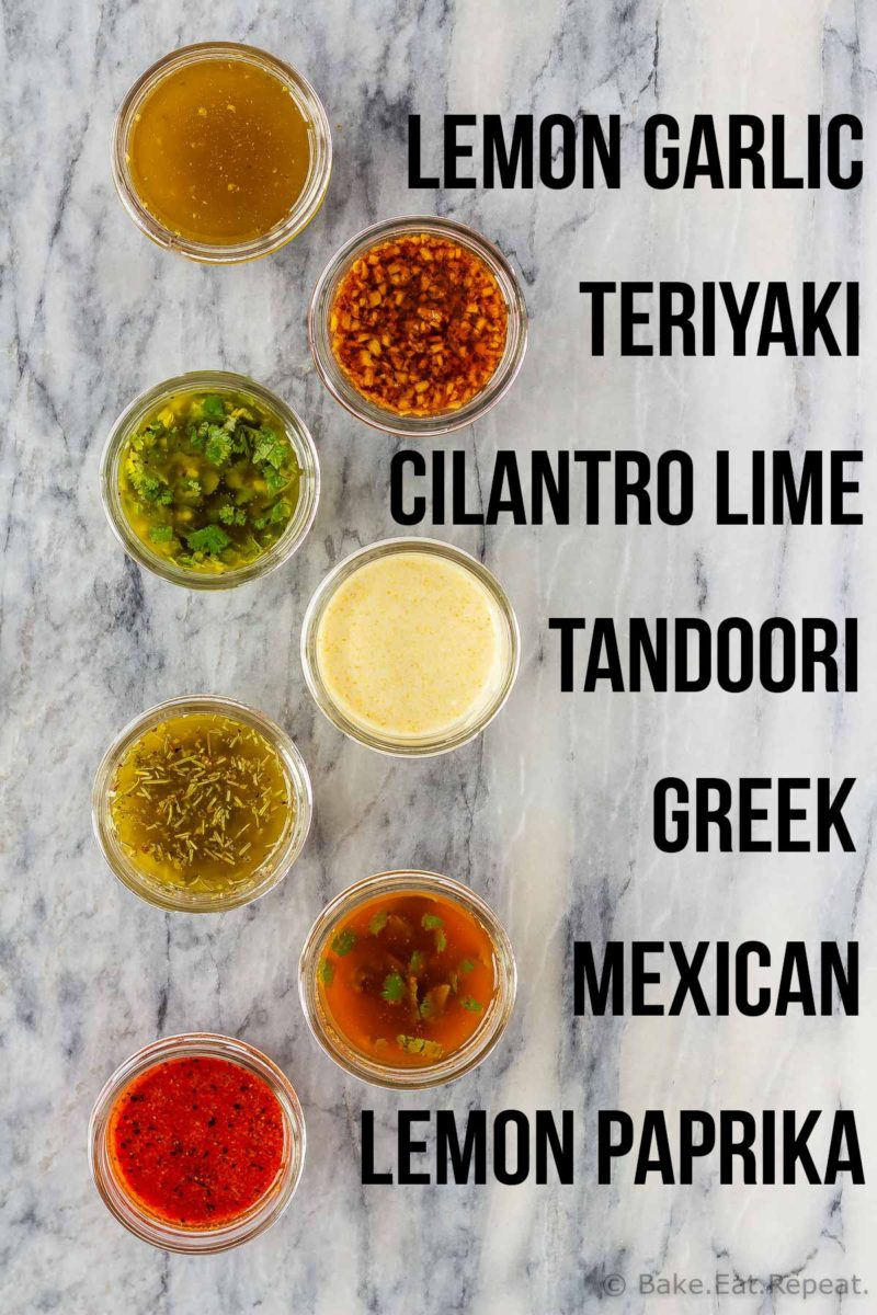 7 delicious chicken marinades to make your life easier! All of these chicken marinades can be used immediately or frozen for later, and take just minutes to make!