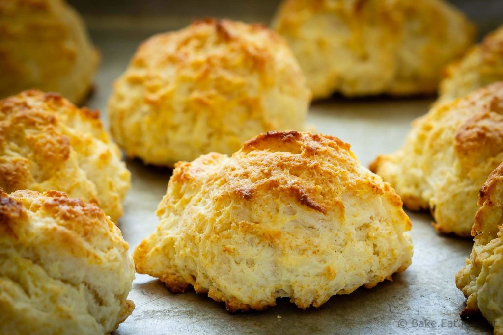 These drop biscuits are buttery and flaky without any effort at all - mix everything together, drop the dough on a cookie sheet and bake. So easy!