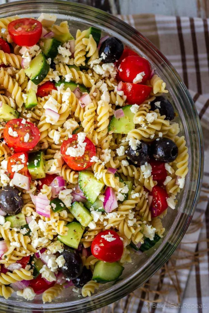 This Greek pasta salad is the perfect side dish - quick and easy to make and everyone loves it! Add protein like chicken or shrimp to make it a full meal!