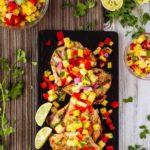Lemon Garlic Grilled Chicken with Pineapple Salsa
