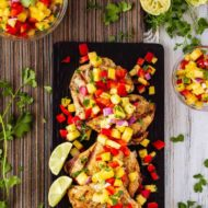 Lemon Garlic Grilled Chicken with Pineapple Salsa