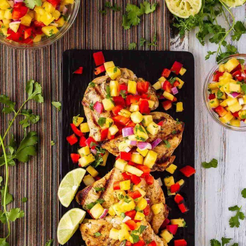 Lemon Garlic Grilled Chicken Pineapple Salsa Image