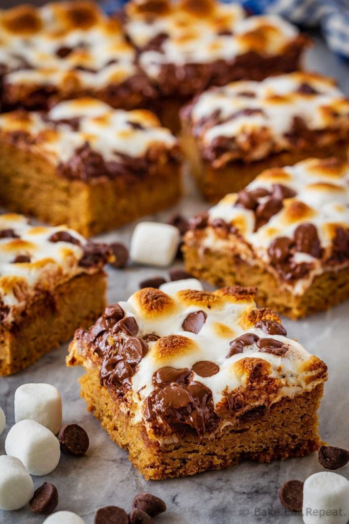 These s'mores bars are the best way to enjoy s'mores without a campfire! Quick and easy to make, they make the perfect dessert or snack!