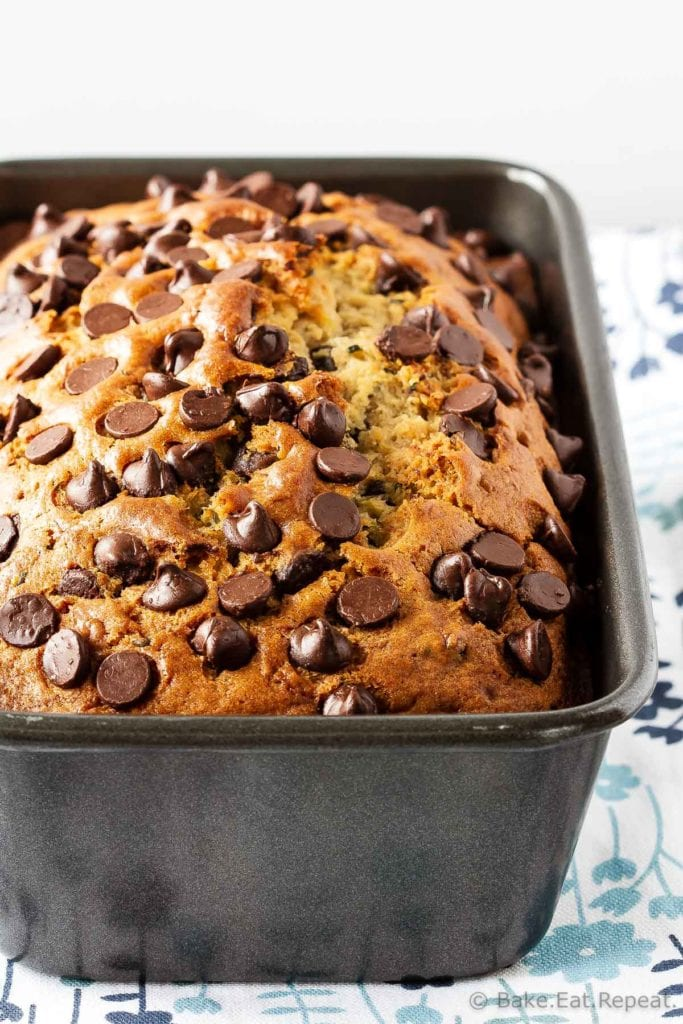 Chocolate chip zucchini bread recipe this chocolate chip zucchini bread is moist and flavourful and filled with chocolate chips forumfinder Gallery
