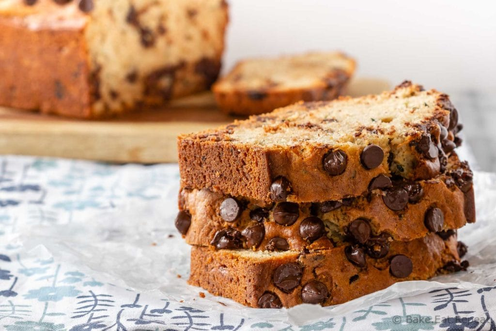 This chocolate chip zucchini bread is moist and flavourful, and filled with chocolate chips. Easy to make, it mixes up in minutes and everyone will love it!