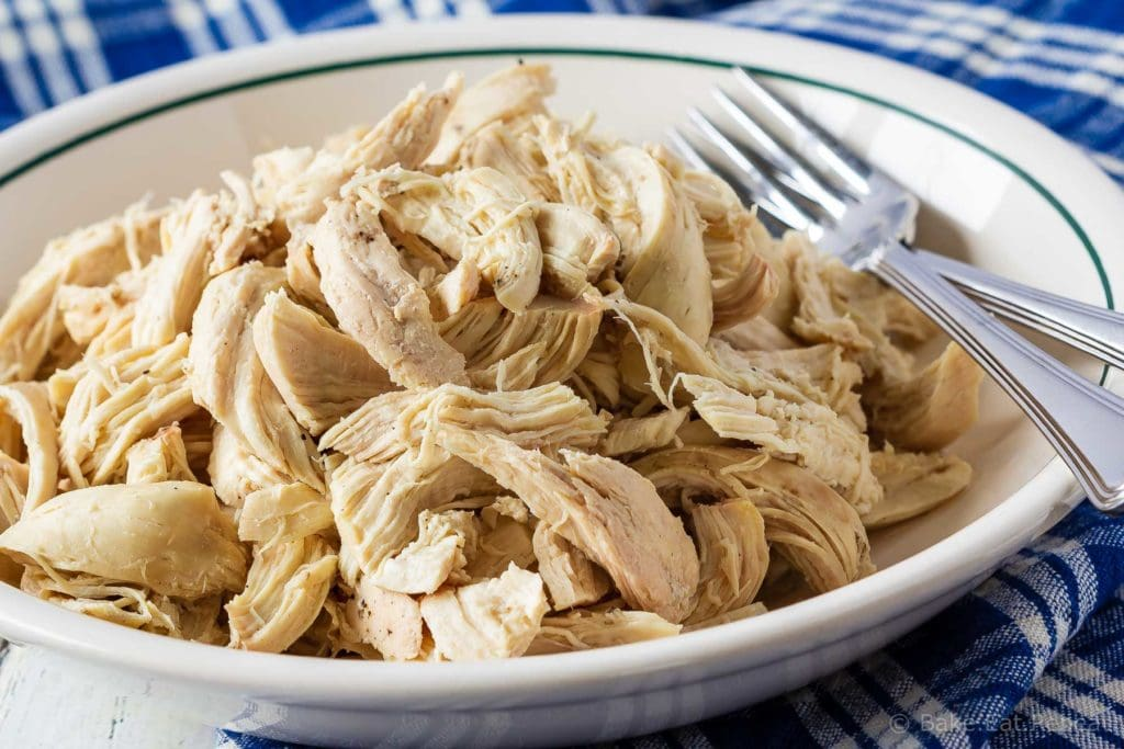 Easy to make, Instant Pot shredded chicken - you can pressure cook chicken breasts for cooked, shredded chicken in minutes - with fresh or frozen chicken!