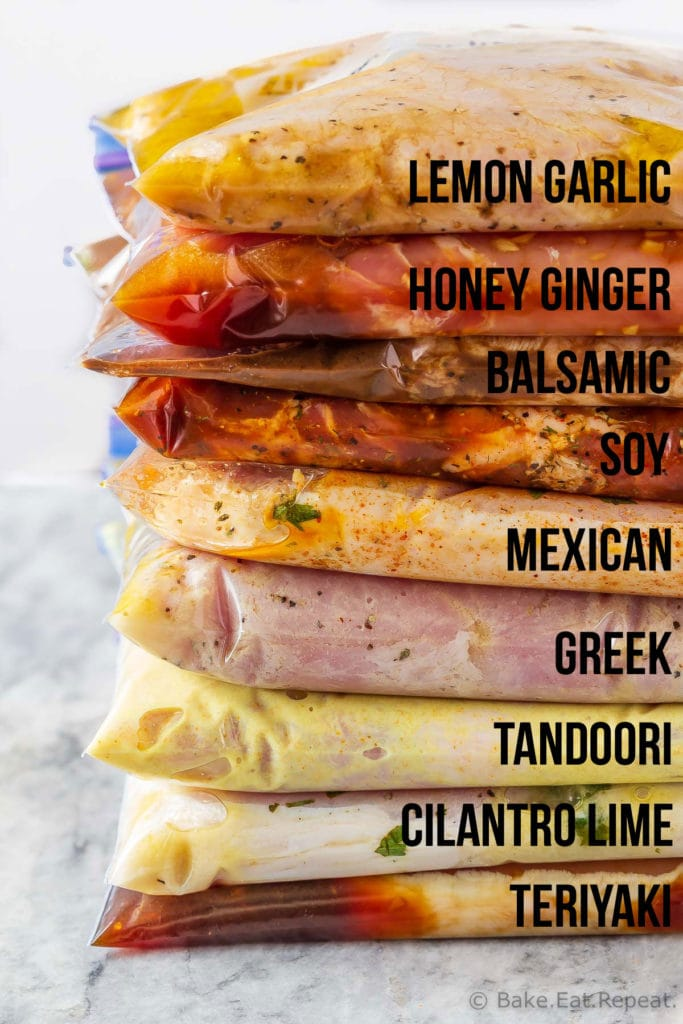 These 9 pork chop marinades are easy to mix up and add so much flavour to your pork chops. Marinate and then grill, pan fry, or bake, or freeze for later!
