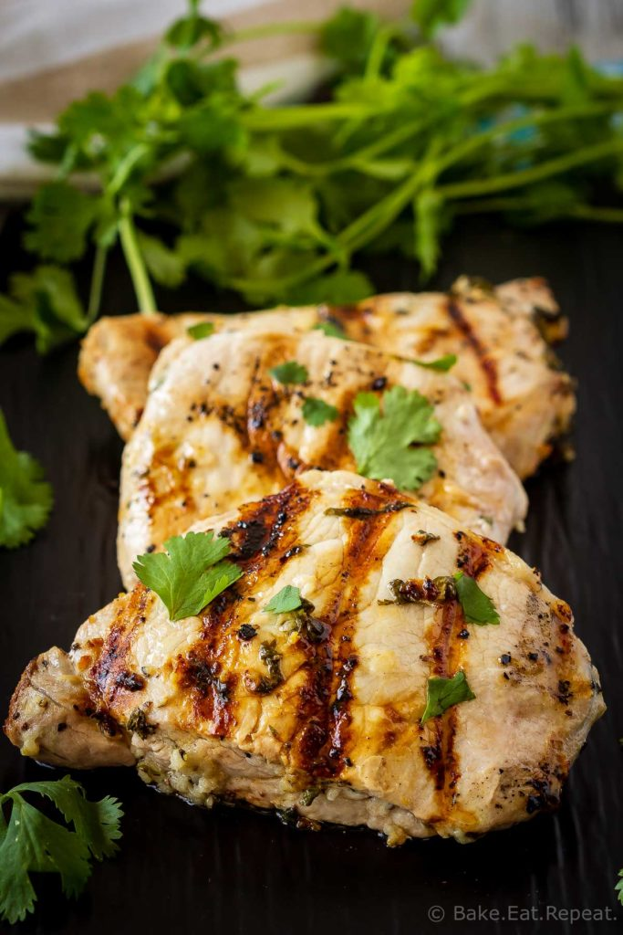 This cilantro lime pork chop marinade is easy to mix up and adds so much flavour to pork chops. Marinate and then grill, pan fry, or bake, or freeze for later!